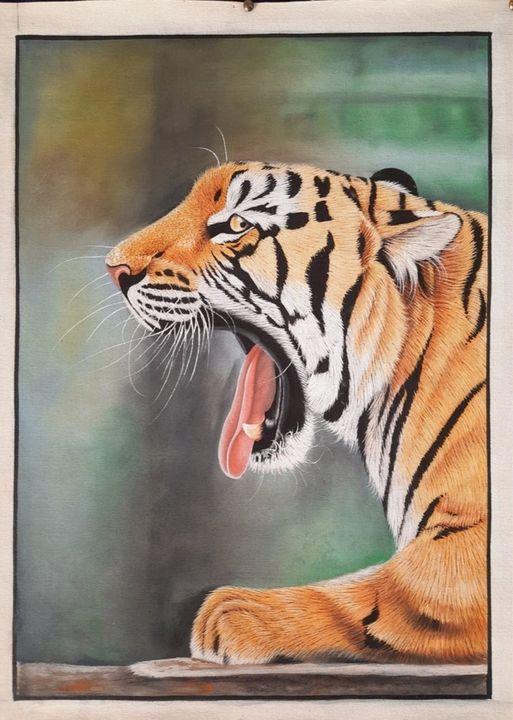 Tiger painting on canvas - shreekrishnam