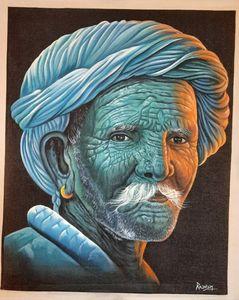 desert men, hand made canvas
