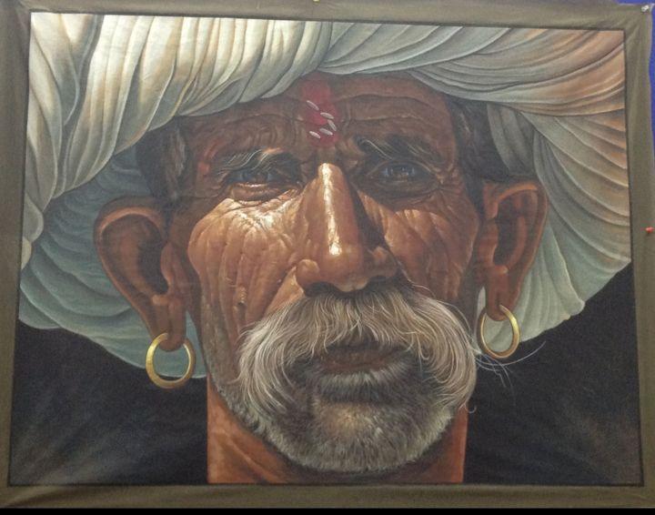 desert men, hand made canvas - shreekrishnam