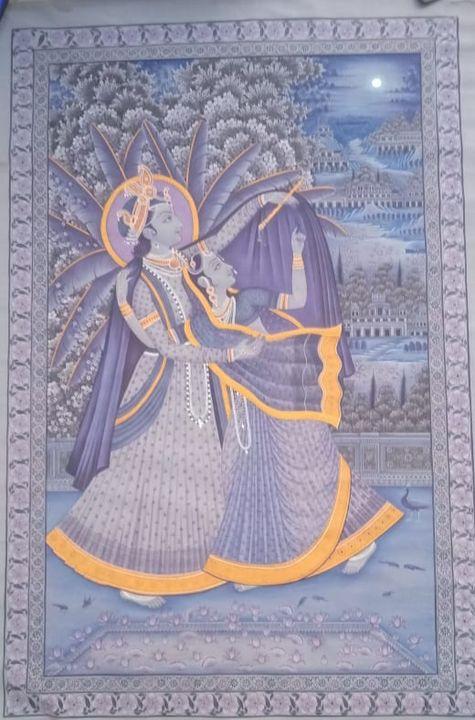 Krishna Radha painting ,water color - shreekrishnam