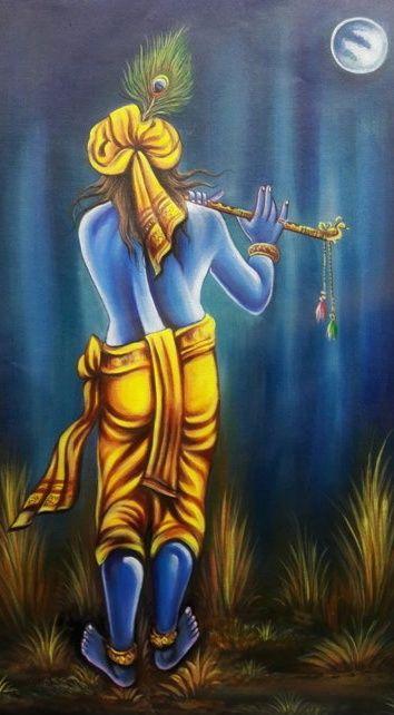 Painting of Lord Krishna,on canvas - shreekrishnam