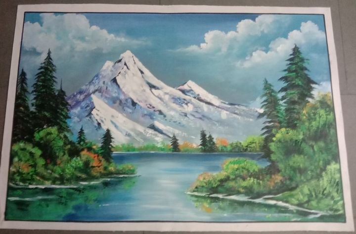 Landscape Painting On Canvas - shreekrishnam