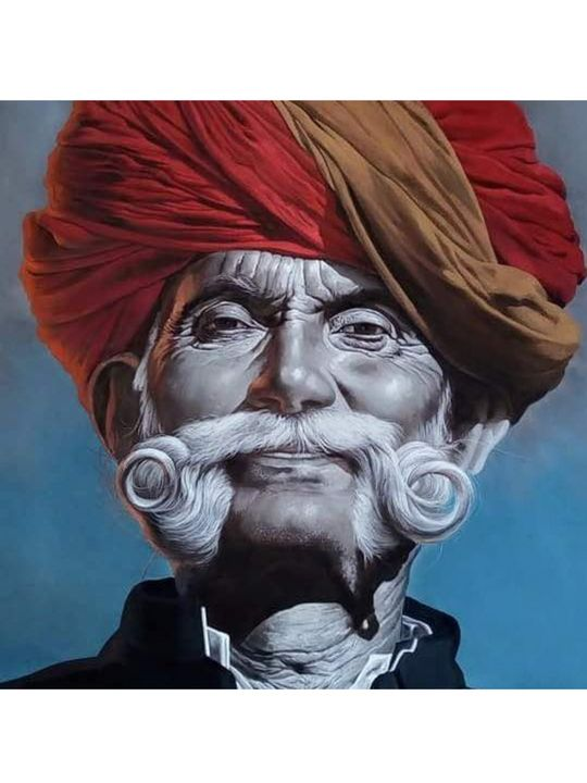 rajasthani old man face silk paint - shreekrishnam