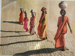 indian village woman going