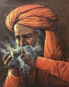 sadhu smoking chillum painting