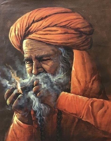 sadhu smoking chillum painting - shreekrishnam