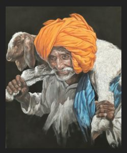 realistic old man  Indian painting,