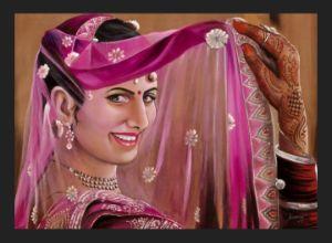 Lady In Ghunghat,Original indian art