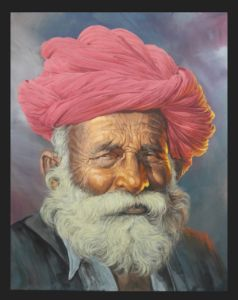 Rajasthani Old Man Face Silk Paint