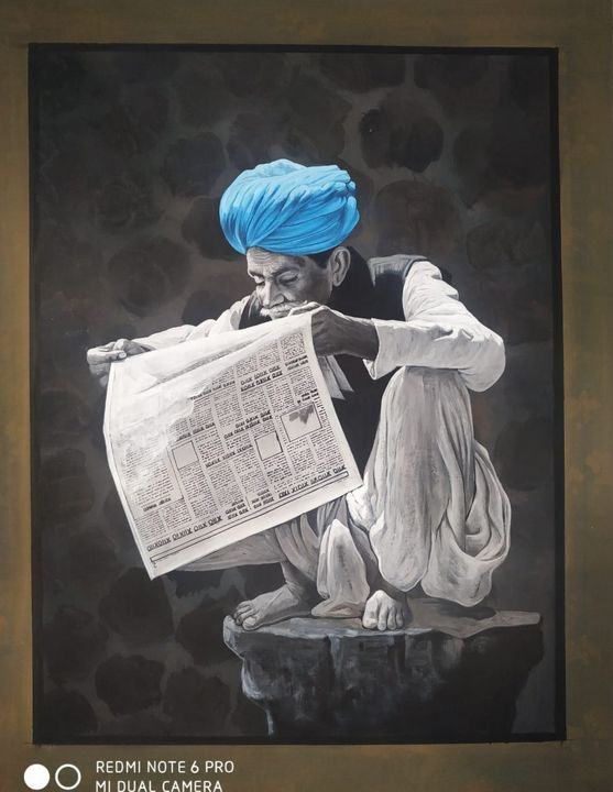 indian turban old man reading news - shreekrishnam