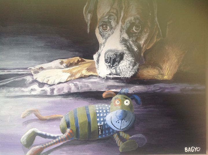 Dog and his toy - Bagyo's paintings