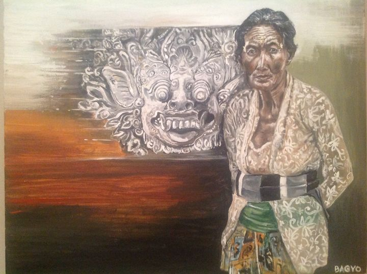 Textured face of Balinese woman - Bagyo's paintings