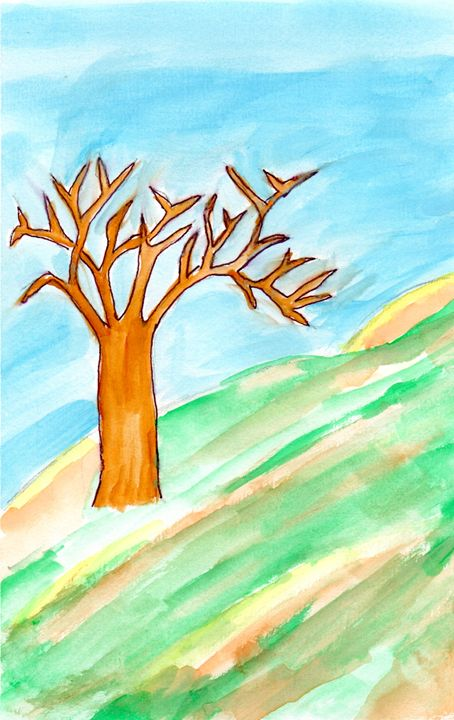 Lone Tree in Turning Grass - April's Art