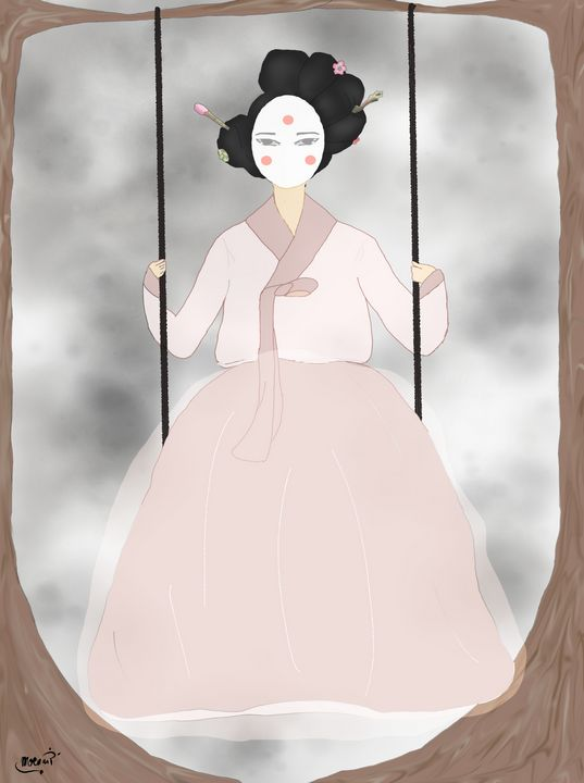 Traditional Korean Women on Swing - MoonxxP
