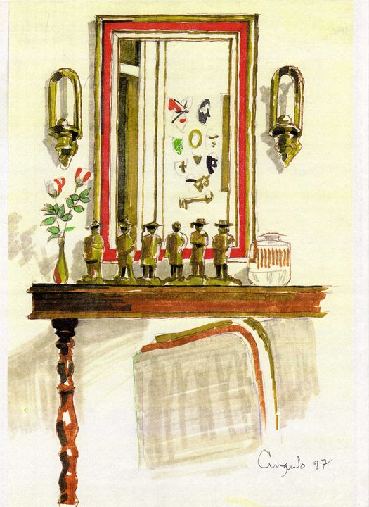 The mirror at the entrance table - Angulo