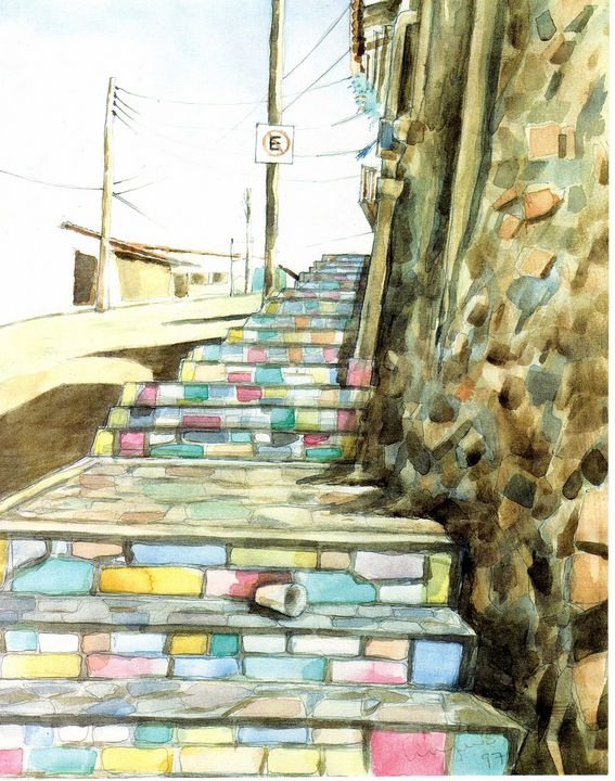 Colorful stair in Taxco - Angulo