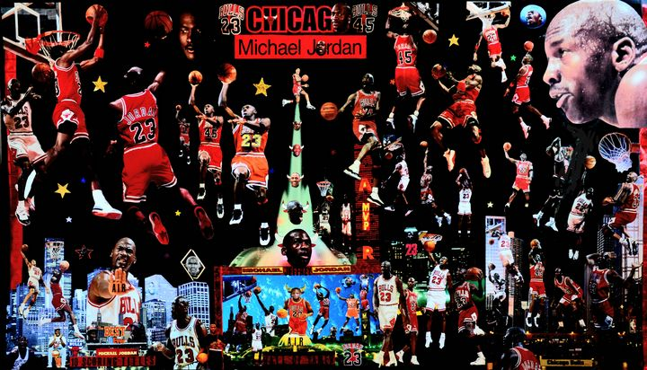 Your AIRNESS Balling in Darkness. - Dorian's One of a Kind HANDMADE NBA COLLAGES