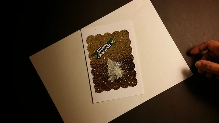 Christmas Card with gold tree - Hand Made Cards