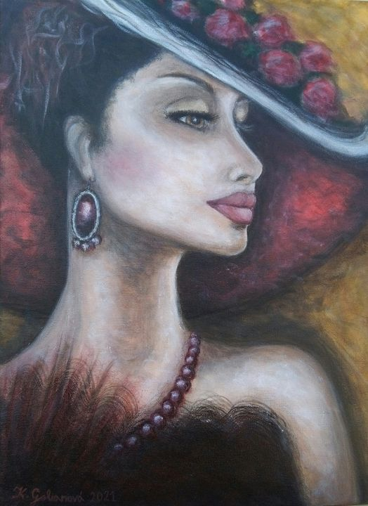 woman in a red hat - KATKA'S GALLERY