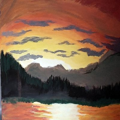 Sunset in the mountains - Nicholson Art Gallery