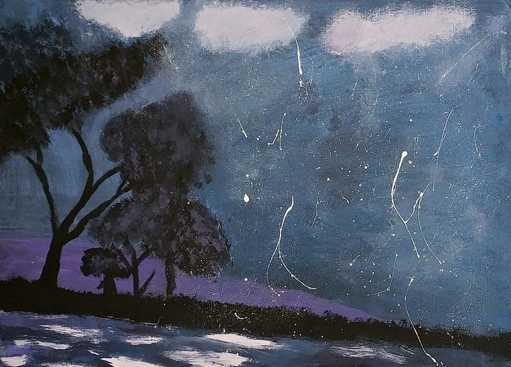 Tree's nightime silhouette - Nicholson Art Gallery