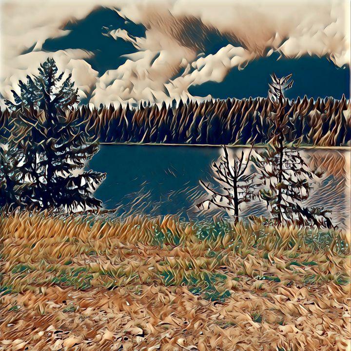 Lake and trees - Nicholson Art Gallery