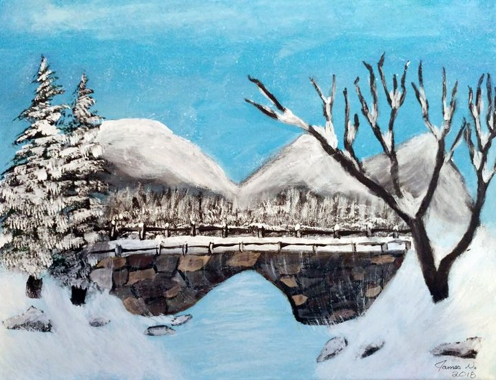 Winterscape Bridge crossing - Nicholson Art Gallery