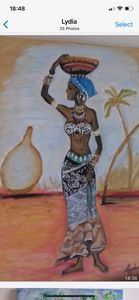 African woman carrying a calabash .