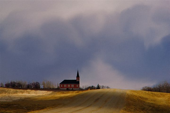 Distant Red Church on a Stormy Day - Images Undefined