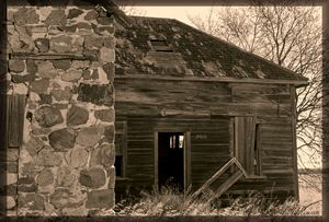 Abandoned Stone Home in Sepia