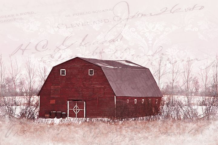 Red Barn on White Snow - Images Undefined