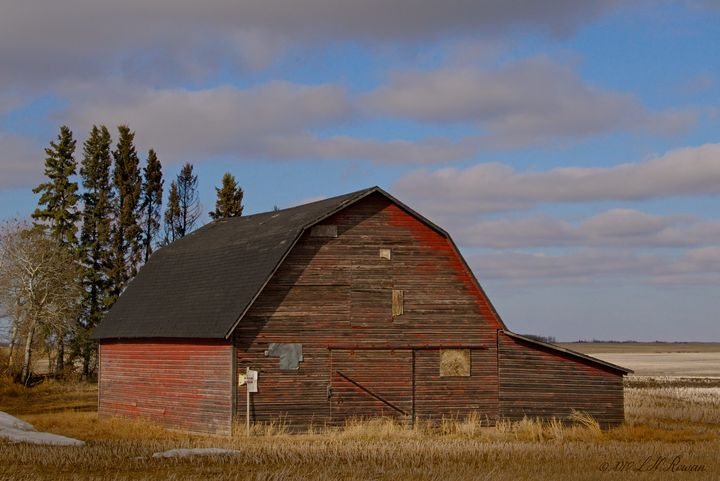 Red Barn on Blue Prairie Sky - Images Undefined