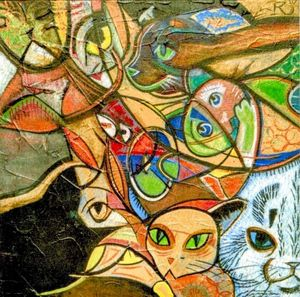 Abstract Cats PRINT
