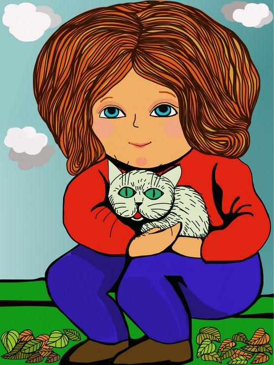 Girl and cat 🐱 - antosydney