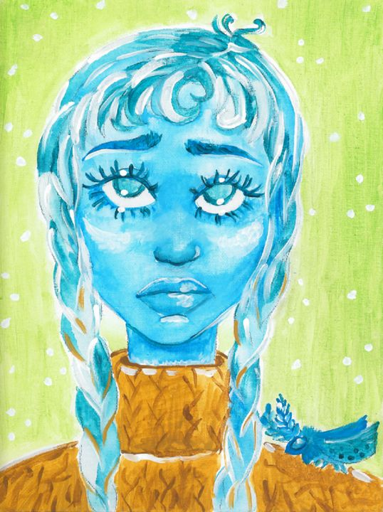 Blue Girl (With Moth Companion) - Acrylic Artisan