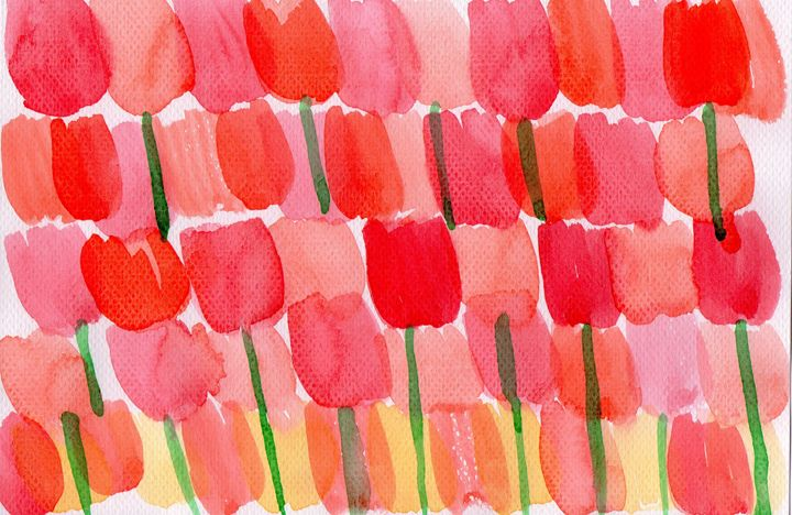 Tulips in Red, Orange and Yellow - Beng's Daily Art