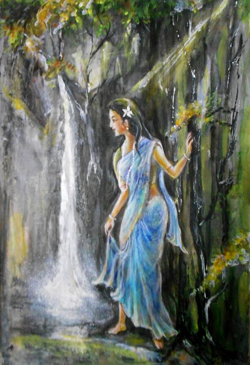 Neelambari (Clothed in blue) - A.Sanyal's Art