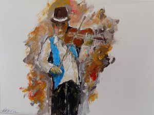 The Fiddler.......8 by 10 acrylic pa