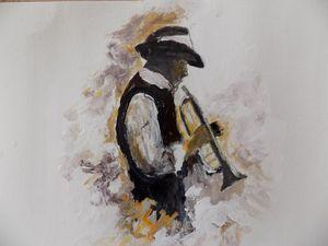 Jazz man acrylic watercolor paper.