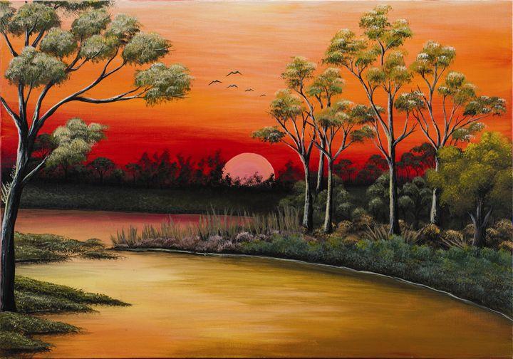 River sunset - Ella Okev Visual art