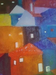 My oil painting  of houses in ltaly