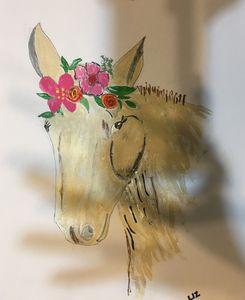 Horse & flowers