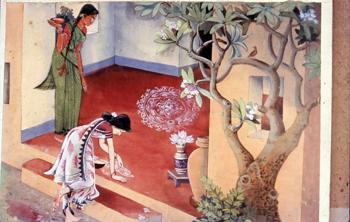 Woman decorating her home. - M.C Thakur
