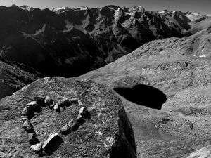 heart on top of the rocky alps