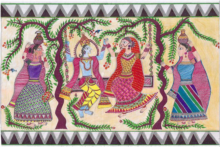 Ram Sita Mithila Painting - Sujata Manish Jha