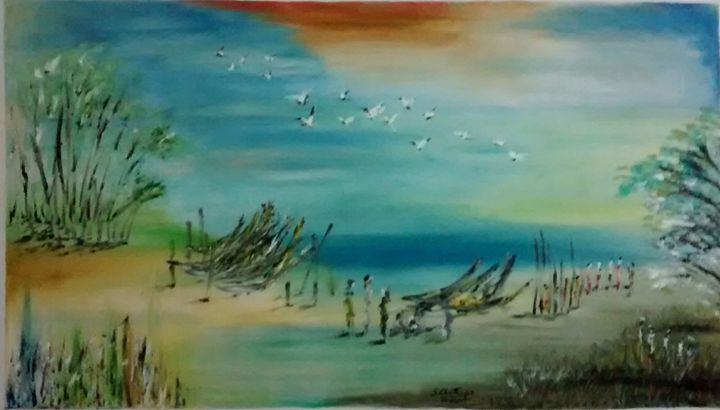 morning in the sea - Indian art