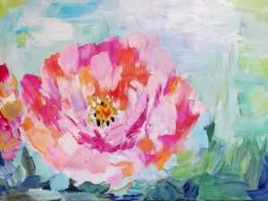 Peony in Gouache - Gina's Glass House