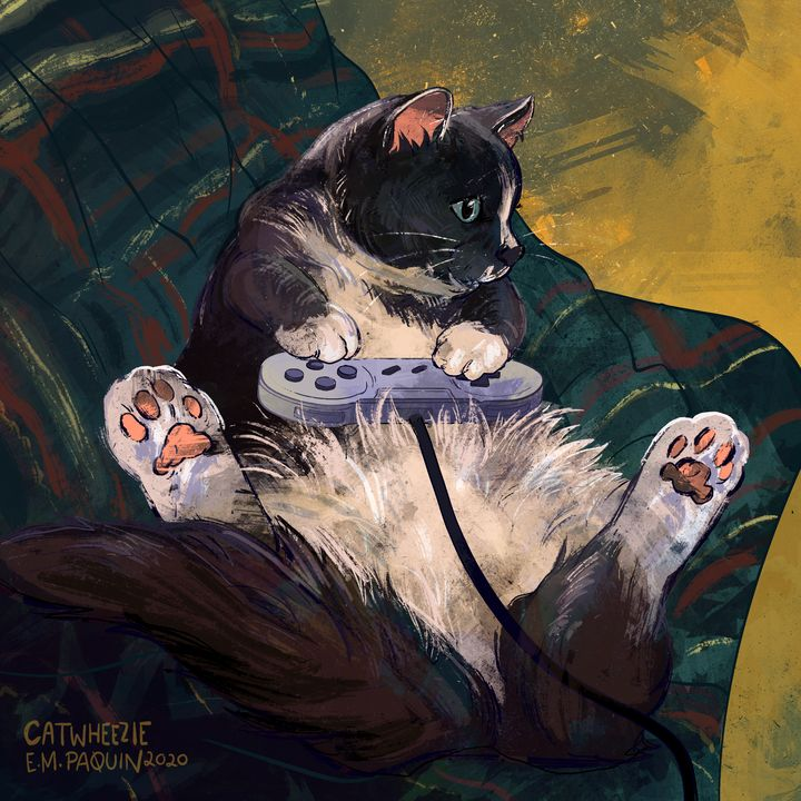 Gamer Cat - Catwheezie's Print Gallery