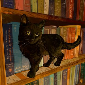 Library Cat - Catwheezie's Print Gallery
