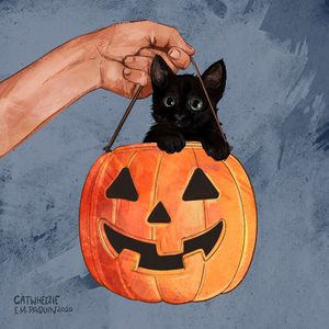 Kitten in the Pumpkin - Catwheezie's Print Gallery